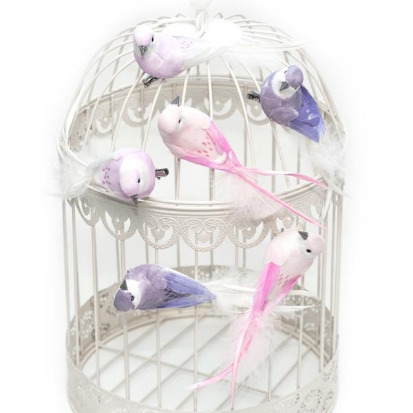 Dekovögel mit Federn & Clip (6 Stück) rosa, flieder & lila