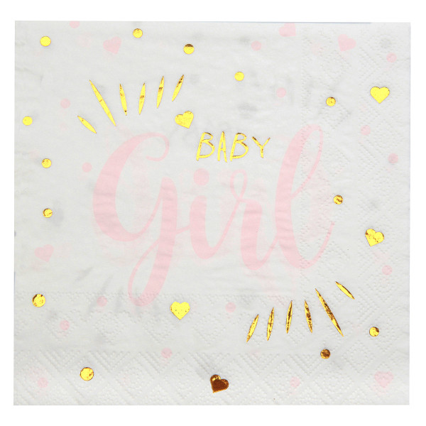 Servietten 'Baby Girl' (20 Stück) - weiß, gold & rosa