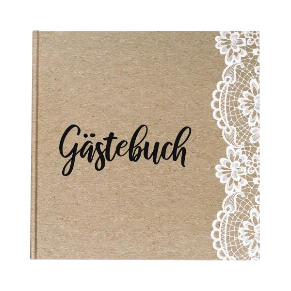 Gästebuch Vintage Spitze - Kraftpapier