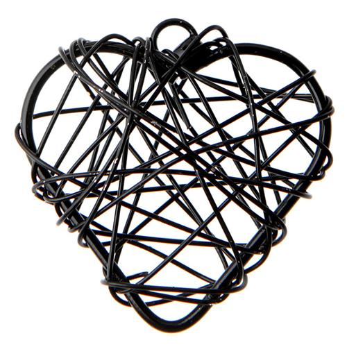 Anhänger 'Herzen' (6 Stück) - schwarz