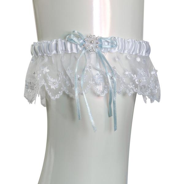 Strumpfband Perlenkranz - weiß