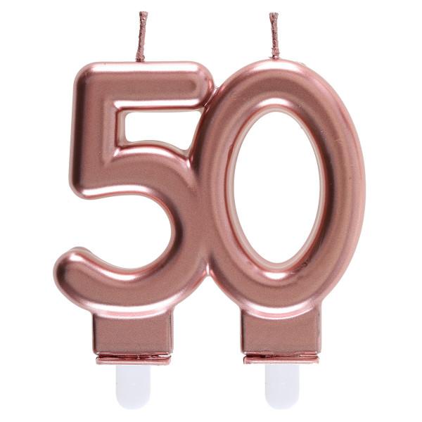 Geburtstagskerze / Zahlenkerze '50' - roségold