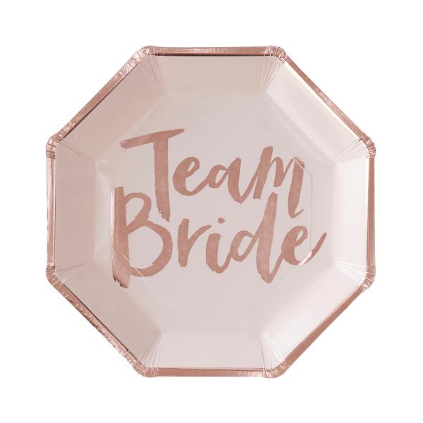 Team Bride Teller 8 Stück - rosa & roségold