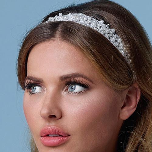 Haarband aus Spitze mit Perlen, Strasssteinen & Glasperlen