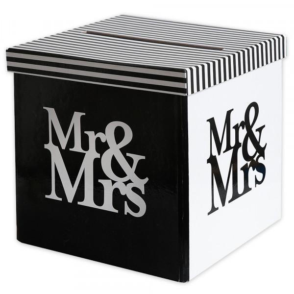 Briefbox / Geschenkbox 'Mr & Mrs' 20 x 20 cm - schwarz & weiß