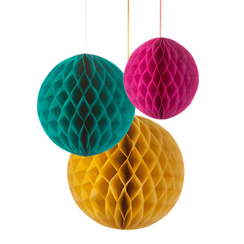 Honeycombs / Wabenbälle (3 Stück) - petrol, pink & senfgelb