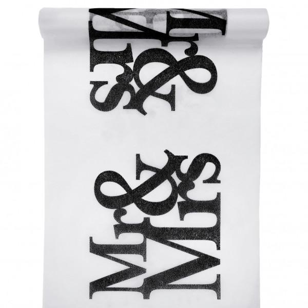 Tischläufer Mr & Mrs 30 cm x 5 m - weiß & schwarz