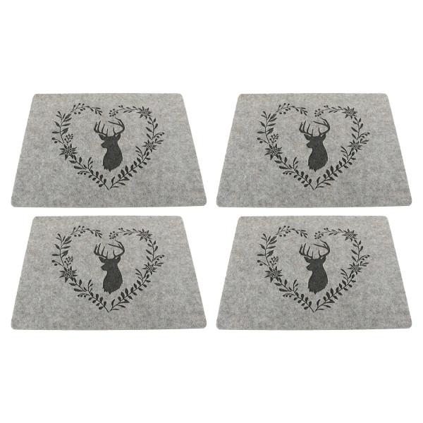 Tischsets / Platzsets 'Hirsch mit Herzkranz', Filz (4 Stück) 45 cm x 35 cm - hellgrau