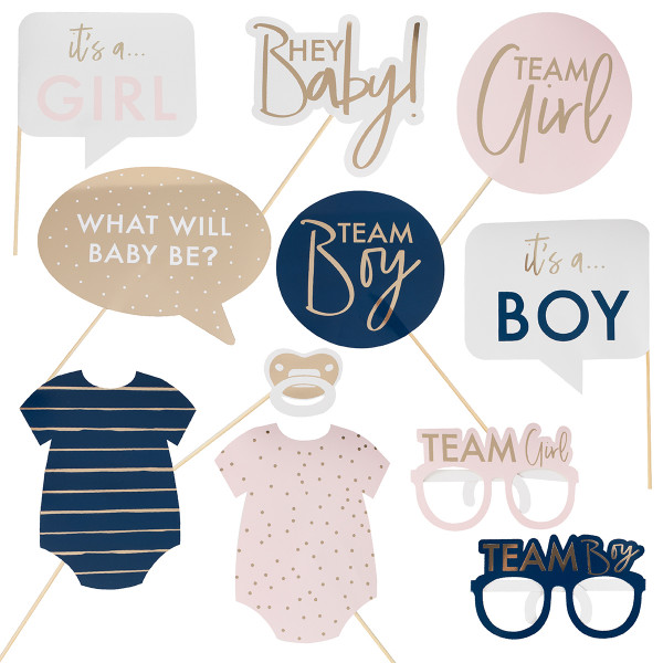 Gender Reveal Baby Photo Booth Set 10 tlg.