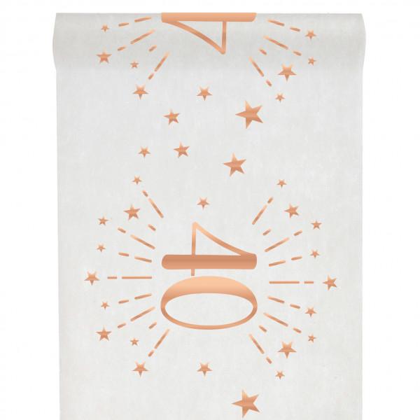 Tischläufer 40. Geburtstag - weiß & roségold