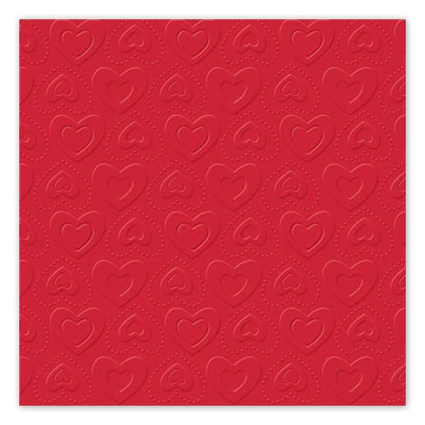 Servietten Herzen geprägt (16 Stück) - rot