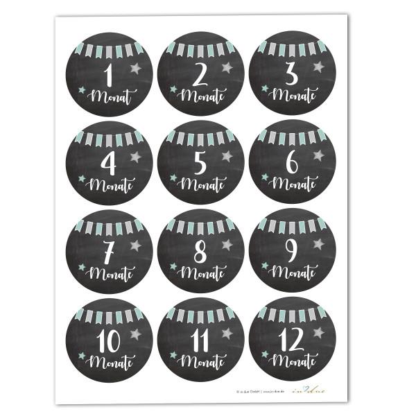 12 Aufkleber / Sticker Meilenstein 'Tafel'