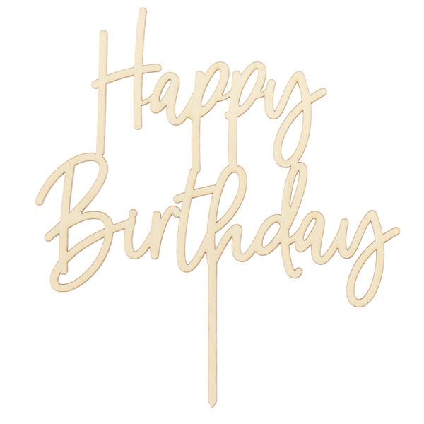 Tortenstecker Happy Birthday Holz - natur