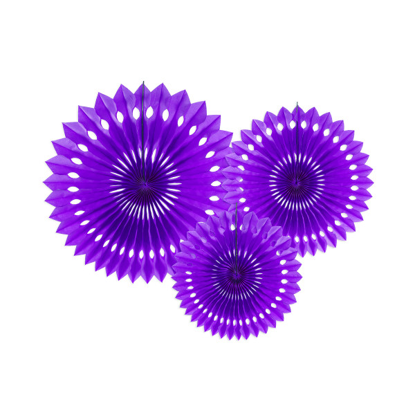 Dekofächer / Dekorosetten 3-teilig - lila