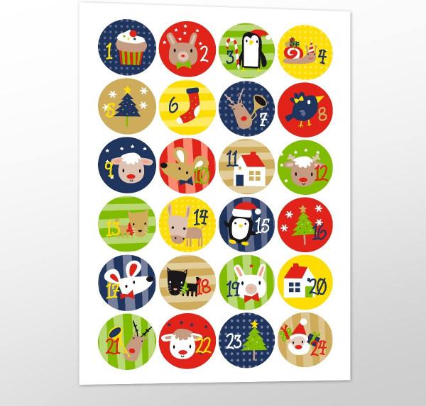 Adventsaufkleber / Sticker 'Wild Christmas' - bunt