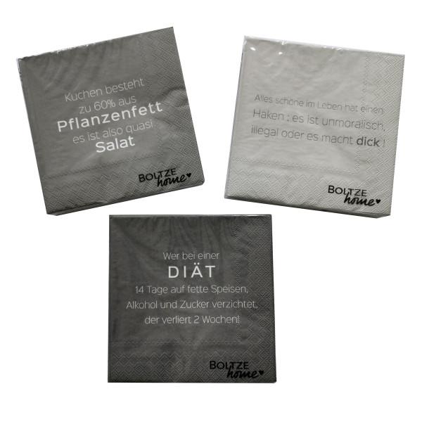 3 x 20 Servietten 'Diät' - Grau Mix