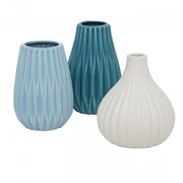Vasen Set Wilma 3-tlg. - weiß, hellblau & petrol