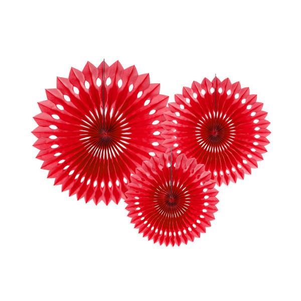 Dekofächer / Dekorosetten 3-teilig - rot