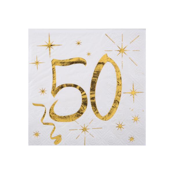 Cocktail Servietten 50. Geburtstag - weiß & gold