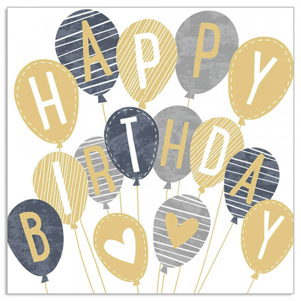 Servietten 'Happy Birthday Ballons' (20 Stück) - grau