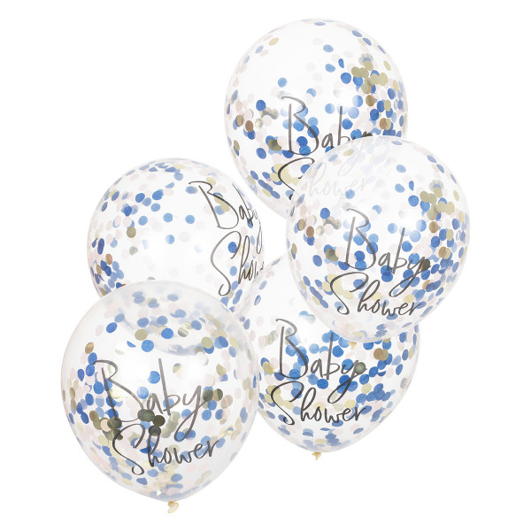 Konfetti Luftballons 'Baby Shower' 5 Stück rosa, blau & gold