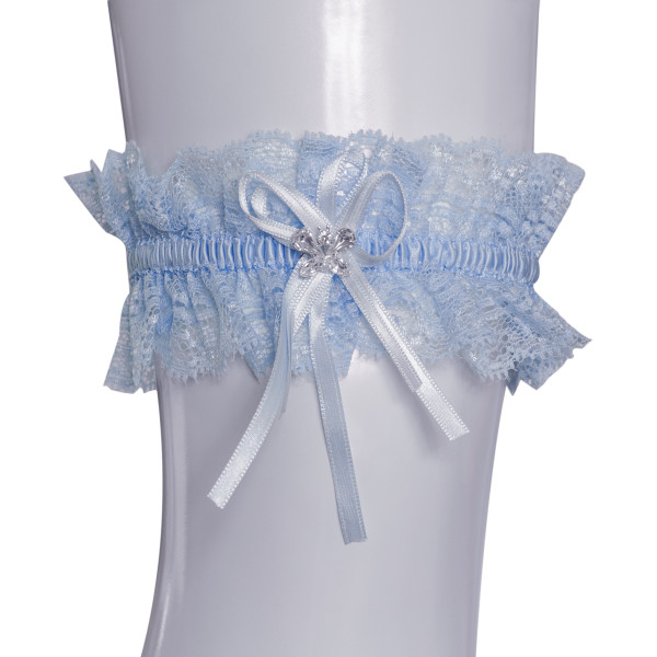Strumpfband mit Strassschmetterling - hellblau