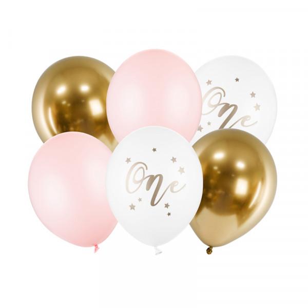 Luftballons 1. Geburtstag 'One' (6 Stück) 30 cm - rosa & gold