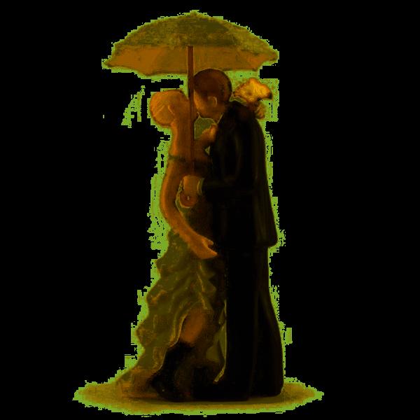 Tortenfigur Brautpaar mit Regenschirm