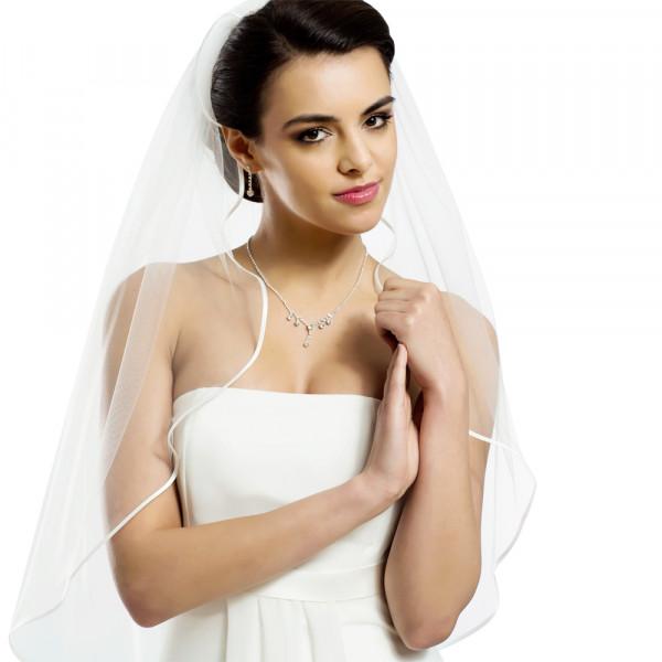 Brautschleier 'Soft' mit Satinkante Länge 80 cm - creme