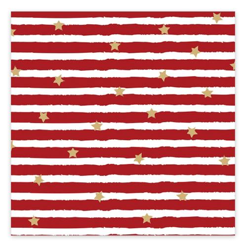 Servietten 'Sterne & Streifen' (20 Stück) - rot & gold