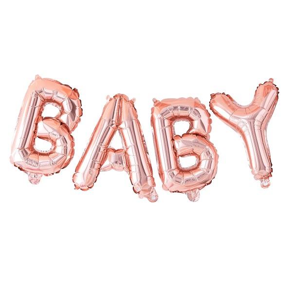 Folienballon 'Baby' roségold 40 cm hoch