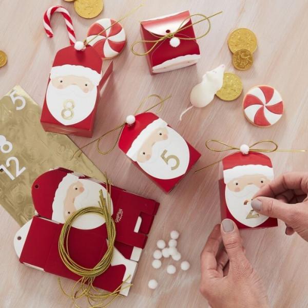 Adventskalender Weihnachtsmann - 24 Schachteln zum Befüllen