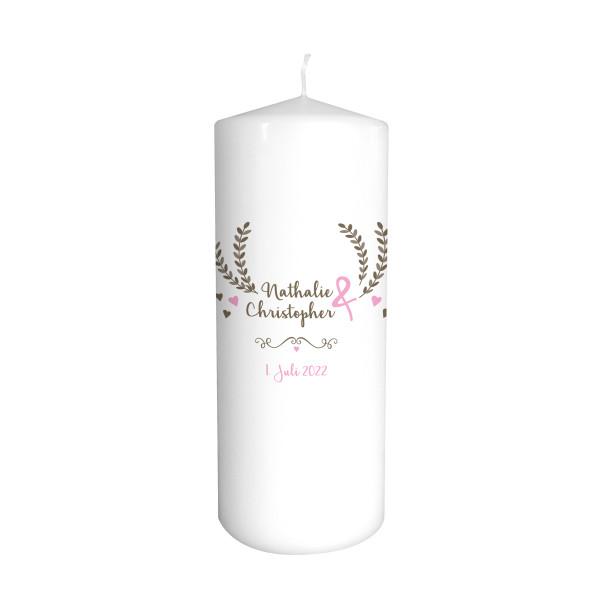Hochzeitskerze Boho Wedding taupe & rosa