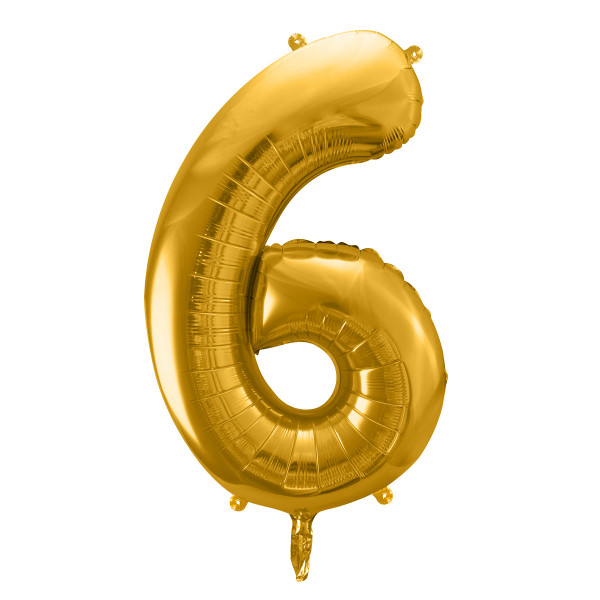 Folienballon '6' 86 cm - gold