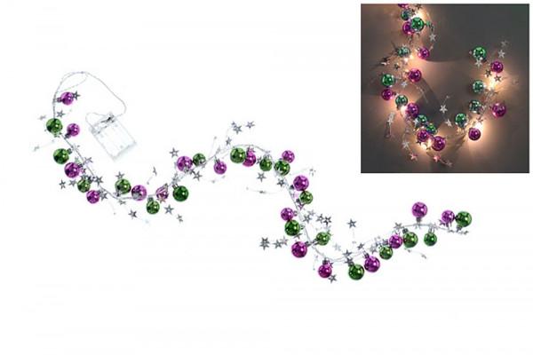 Lichterkette mit LED, Kugeln & Sterne - grün & pink