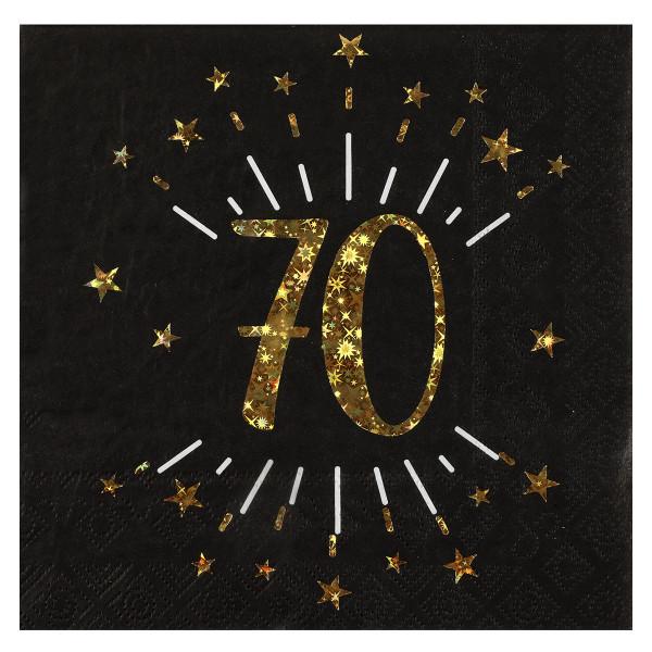 Servietten 70. Geburtstag - schwarz & gold