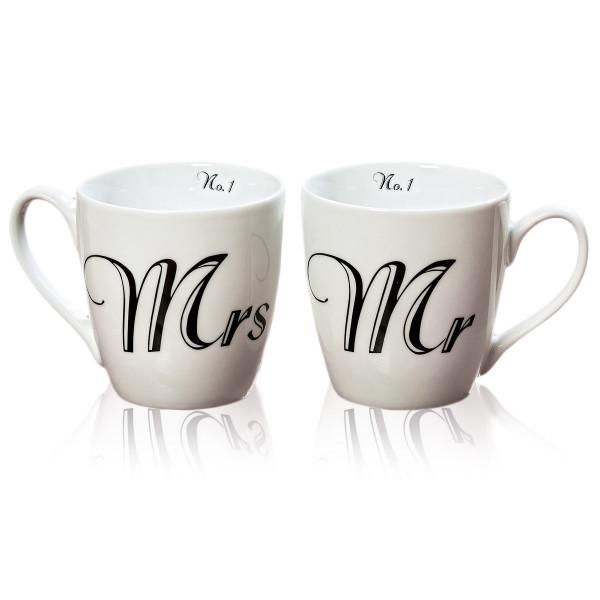Tassen 'Mr & Mrs' 2er Set Weiß & Schwarz