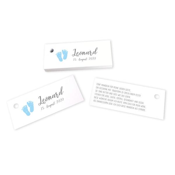 28 Kärtchen Babyfüße hellblau personalisiert 7,5 x 3 cm