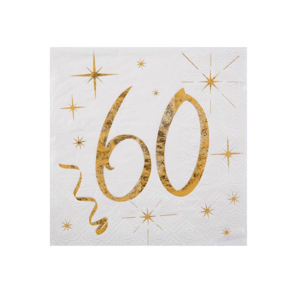 Cocktail Servietten 60. Geburtstag - weiß & gold