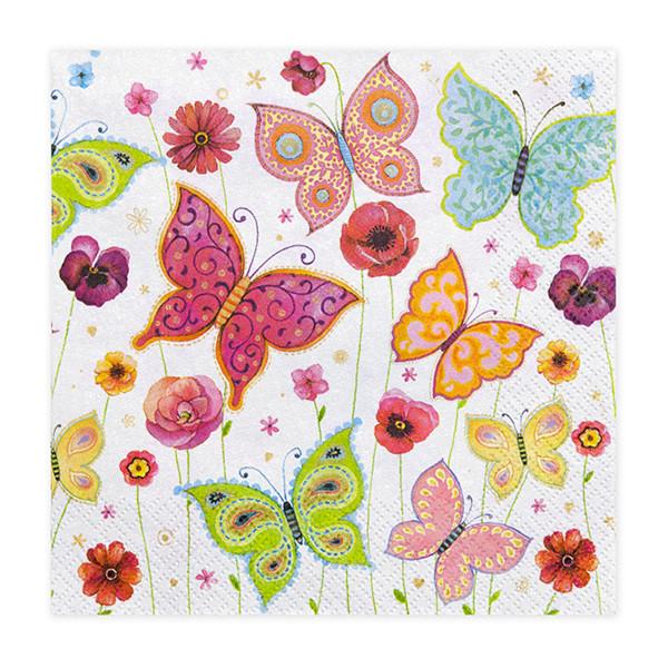 Servietten Schmetterlinge (20 Stück) bunt