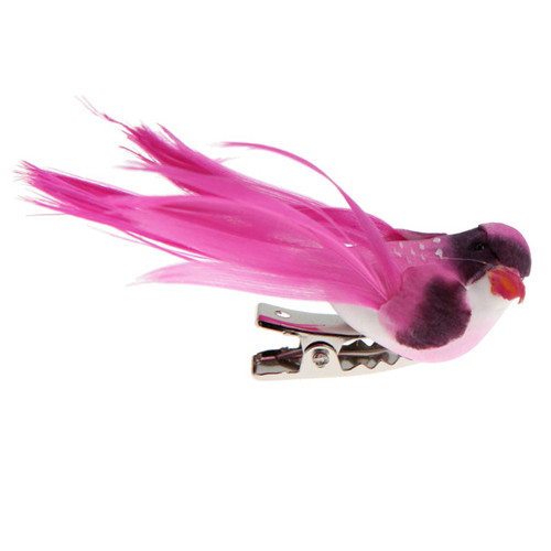 Deko-Vögel mit Clip (4 Stück), klein - pink