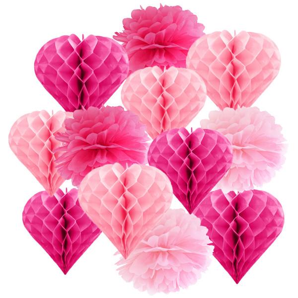 Hängedekoration 12 teilig Mix Pink & Rosa - Herz-Wabenbälle & Pompoms