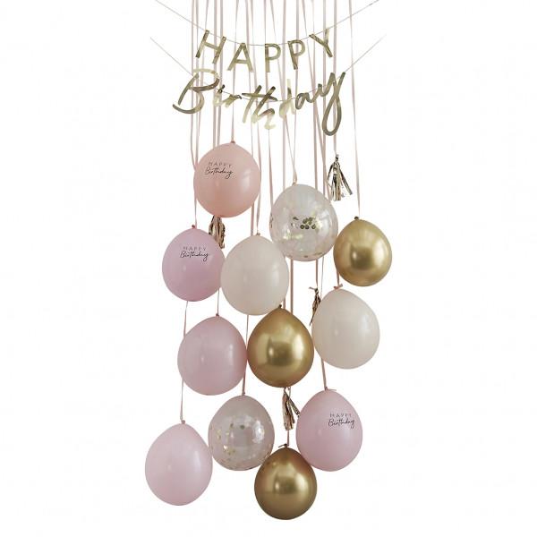 Ballon Geburtstag Türdekoration 'Happy Birthday' - rosa & Gold