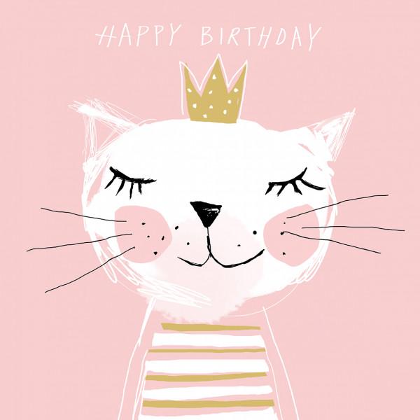 Katzen Party Servietten 'Happy Birthday' (20 Stück) - rosa, weiß & gold