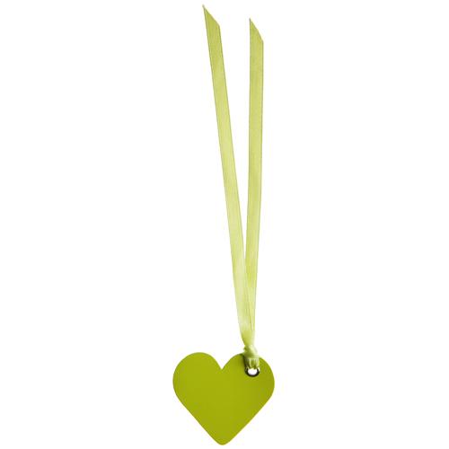 Tischkärtchen 'Herz' mit Satinband (12 Stück) - hellgrün