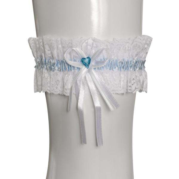 Strumpfband Strass Herz - weiß & hellblau