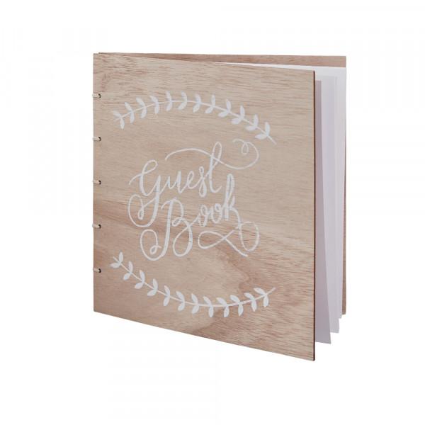 Gästebuch 'Guest Book' Holz Boho - natur