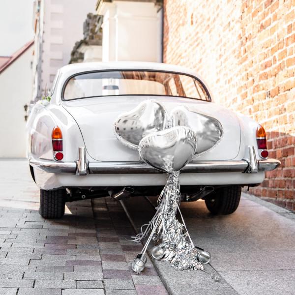Autodekorations-Set Herz Folienballons & Dosen - silber