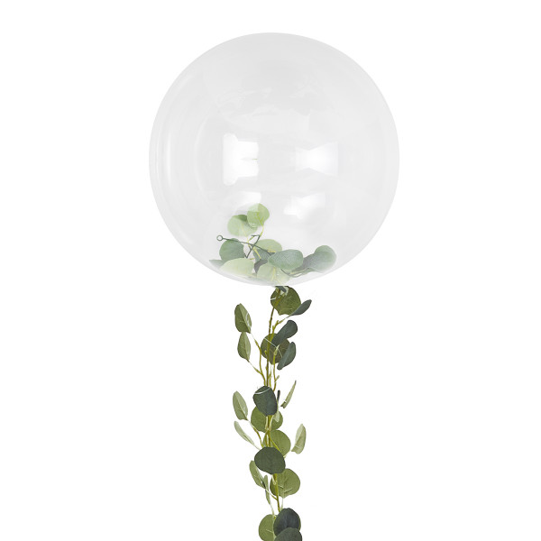 Botanical Party XXL Ballon transparent mit Eukalyptus Ranke