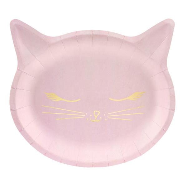 Katzen Party Teller (6 Stück) - rosa & gold